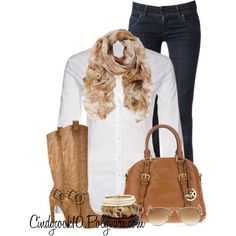 Tan Scarf + Blue Jeans + White Button-Up Shirt + Tan Boots + White, Brown, and Tan Bracelets + Tan Bag + Tan Sunglasses Michael Kors Outlet, Michael Kors Stores, Michael Kors Website, Michael Kors Handbags Sale, Cheap Michael Kors Bags, Mk Handbags, Designer Handbags, Cute Outfits, Fashionable Outfits