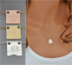 Monogram Tag Necklace, Personalized Square Tag Necklace, Initial Tag, Customized Necklace, Mothers Day Gift, Mini Bar Necklace, Gold, Silver by malizbijoux. Explore more products on http://malizbijoux.etsy.com