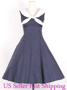 Here you go, Marcia!!   Vintage Navy Blue Sailor Dress Polka Dot Rockabilly Pinup