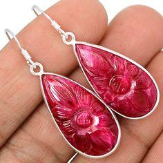 Carving Ruby 925 Sterling Silver Earrings Jewelry EE459 | eBay