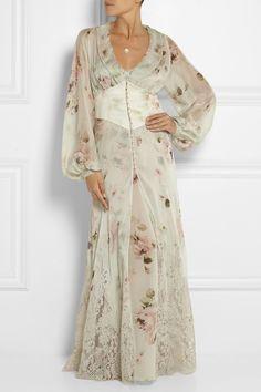 Rosamosario|Lace-trimmed printed silk-chiffon robe|NET-A-PORTER.COM