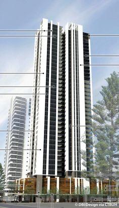 Qube - The Skyscraper Center Dubai Architecture, Architecture Details, Modern Architecture, Residential Building Design, Residential Architecture, Tower Apartment, High Rise Apartments, Building Elevation, Facade Lighting