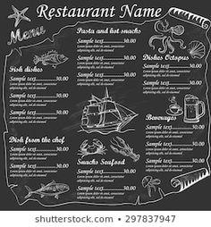 Images, photos et images vectorielles de stock similaires de Restaurant Food Menu Design Chalkboard Background - 196454786 similaires | Shutterstock Seafood Menu, Seafood Restaurant, Restaurant Recipes, Restaurant Names, Restaurant Menu Design, Menu Café, Food Menu Design, Cafe Design, Chalkboard Lettering