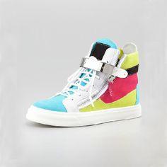Giuseppe Zanotti Mens High Top Buckled Colorblock Sneakers      Model: gzmenshoes019     580 Units in Stock   Manufacturer: Giuseppe Zanotti $770.00  $280.00