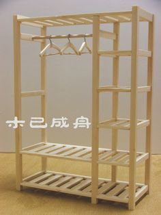1/6 Minimal Wooden Clothing & Storage Rack ($14.37 USD)
