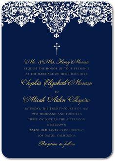 Faithful Flourish - Signature White Wedding Invitations - Jenny Romanski - Black : Front