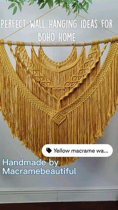 Large Macrame Wall Hanging, Macrame Plant Hangers, Diy Wall Art, Diy Wall Decor, Diy Necklace Patterns, Large Tapestries, Boho Bedroom Decor, Macrame Projects, Macrame Patterns