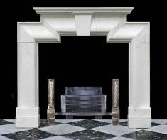 Antique Art Deco White Marble Bolection Fireplace