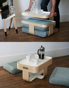 Creative Ideas for Modern Smart Furniture: Furniture is a vital part of home interior creating the ambiance and providing comfort as well as utility. Table For Small Space, Small Space Living, Small Spaces, Small Rooms, Smart Furniture, Space Saving Furniture, Furniture Design, Furniture Ideas, Furniture Nyc