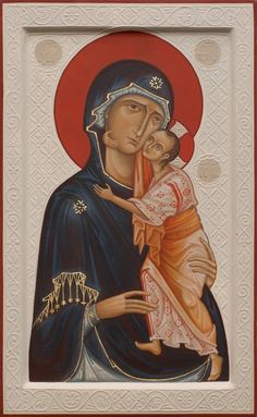 Holy Virgin of Tenderness with relief background. 2009