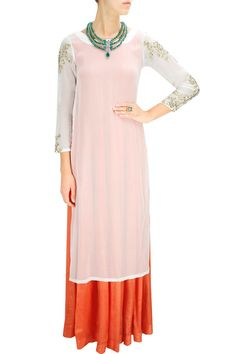 PRATHYUSHA GARIMELLA Orange plain anarkali with white gold embroidered kurta Product Code - PGC2M1114FL25 Price - $ 453