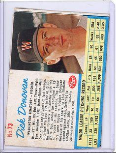 1962 Post 73 Dick Donovan Washington Senators White Sox | eBay