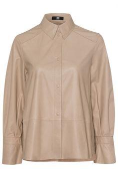 Riani Damen Hemdbluse aus Leder Beige   SAILERstyle Blazer, Knit Fashion, Leather Cover, Covered Buttons, Women Wear, Silhouette, Shirt Dress, Beige, Mens Tops