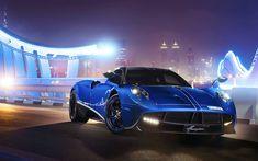 Download wallpapers Pagani Huayra, 4k, night, 2017 cars, blue Huayra, supercars, Pagani
