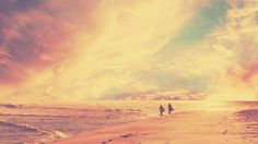 #beach dawn #Minimalism #people #retro beach #together #vintage nature