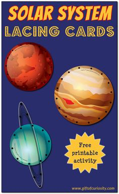 Free solar system lacing cards you can print and make yourself. This set features all eight planets as well as the sun and moon. This is a great fine motor activity for young kids who are learning about space! || Gift of Curiosity