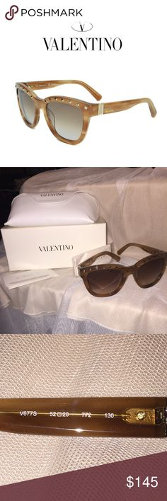 Valentino Sunglasses New!  This beautiful piece from Valentino is stylish, smooth, and versatile. Its comfortable wear, chic striped light brown color scheme, spectacular design and calming brown gradient lenses make these shades a must-have for any woman's collection. Manufactured: Italy Frame: Yes Nose Pads: None Features: Silver-Tone studs on frame. Silver-Tone accents on arms and ends of frame. 'Valentino' brand name on arm. Specifications Size: 52-20-130 Color Striped Honey Lens Color…