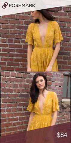Honey Punch lace maxi in mustard https://effinshop.com/collections/shopall/products/chloe-lace-maxi Honey Punch Dresses Maxi