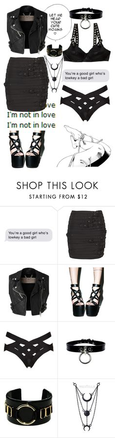"""""""Kinky Neighbor"""" by insanevibes ❤ liked on Polyvore featuring Madison Marcus, Burberry, Jeremy Scott, Current Mood, Agent Provocateur, Bordelle, black, Leather, kinky and MINISKIRT"""