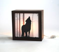 Nightmare guard/ Wolf forest light box (Made to order). $75.00, via Etsy.