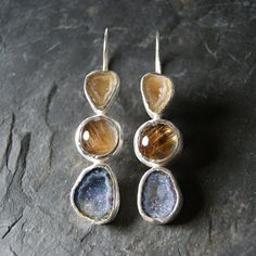 Druzy Geode and Rutilated Quartz Earrings in Sterling by anatomi