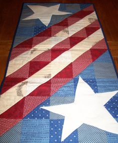 HANDMADE Americana Quilted Table Runner with by CountryStarQuilter, $43.00 One of our Quilt of the Month Contest Entries for June :-)  Really cool!!