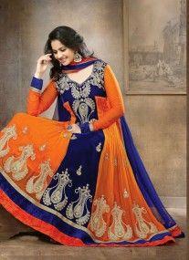 Impressive Orange & Blue Suit With Patch Patti Work