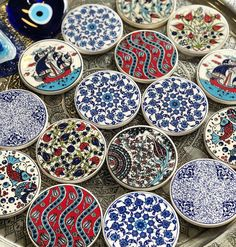 """Instagram'da Turkish Handcrafts, Worldwide: """"All these mediterrenean colors of our Turlish Ceramic Coasters🙌 😍 Most of them Sold Out and few available on…"""" Grand Bazaar, Ceramic Coasters, Ceramics, Colors, Tableware, Ceramica, Pottery, Dinnerware, Tablewares"""