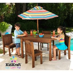 KidKraft - Outdoor Table & Stacking Chairs with Striped Umbrella