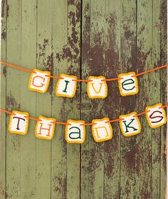 Give Thanks Banner Free Crochet Pattern in Red Heart Yarns
