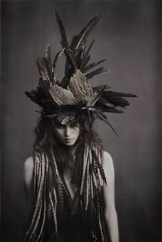 """""RAVEN STEALS THE SUN"" Photo Story By Photographer JEFF ELSTONE Head Pieces / Scarves / Styling By Selina Elkuch + Taiana Design """