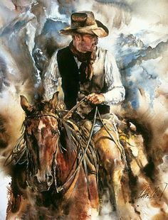 """CELEBRATING THE COWBOY LIFE: An original painting, """"Taking Stock,"""" by Chris OwenCowboy"""