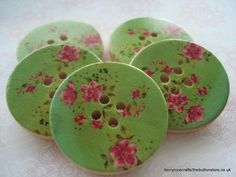 30mm Wood Buttons Green Pink Flower Print Pack of 6 £1.25 by berrynicecrafts