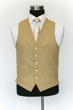 Brown Single Breasted Wool Waistcoat with Ivory Tie Wedding Waistcoats, Vest And Tie, Single Breasted, Ivory, Brown, Jackets, Collection, Dresses