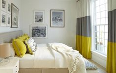 White, grey, and yellow seamed drapes in this relaxing bedroom - Drapery Street