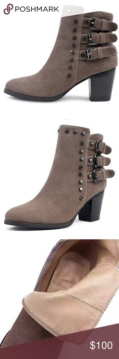 Studded Moto Ankle Heel Taupe Suede Biker Booties I LOVE these but they are too big on me. Only worn once. Size 39 or US 8-9. Soft cushion bottom. Complete leather inside suede outside. Metal studs for an edgy look. Wood heel. Extremely well made. Light taupe color dark mahogany wood heel. Shoes Ankle Boots & Booties