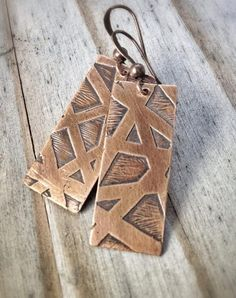 Etched copper earrings, etched jewelry, handmade jewelry, handmade earrings