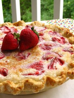 Summer Strawberry Sour Cream Pie. Sweet Strawberries. Sweet Summertime.