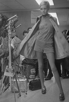 "Twiggy wearing hot pants in the 1960's. Twiggy was the worlds first ""Super Model"""