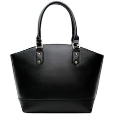 Blackfive Concise Solid Tone Fully Lined Leather Tote (£35) ❤ liked on Polyvore featuring bags, handbags, tote bags, purses, accessories, blackfive, leather tote handbags, zippered tote bag, black leather handbags and leather zipper tote