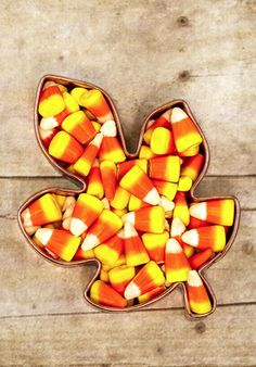Festively Fall - Candy corn in a leaf dish