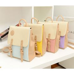 New Korean College Style Women's Faux Leather Backpack School Bag Multicolor MW