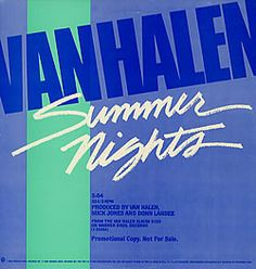 """For Sale -Van Halen Summer Nights USA Promo 12"""" vinyl single (12 inch record / Maxi-single)- See this and 250,000 other rare and vintage records & CDs at http://eil.com/"""