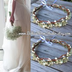 Baby's Breath & Pearls Flower Crown Country by BellasBloomStudio Flower Crown Wedding, Bridal Crown, Wedding Flowers, Toddler Wedding Hair, Babys Breath Crown, Party Themes, Party Ideas, Wedding Decorations, Wedding Ideas