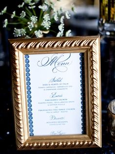Frame the menu (if doing a buffet) with the same frames used on the table settings to tie it together