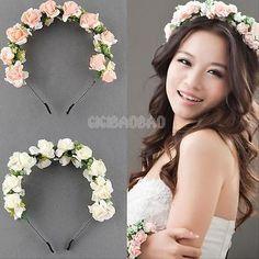 Flower Garland Floral Bridal Headband Hairband Wedding Prom Hair Accessories New