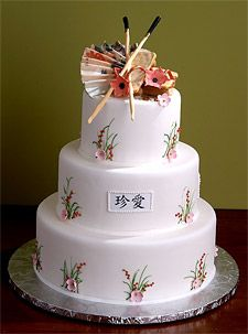 Asian Theme - Cake; could change colors to fit wedding colors chosen. (red, white, black)