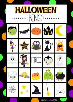 Free Printable Halloween Bingo game and cards for kids Halloween parties. Halloween Bingo Printable includes 8 game boards and the cards to play with.