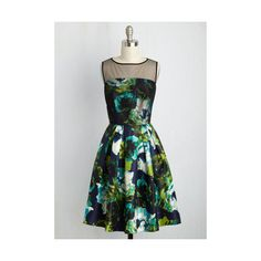 Mid-length Sleeveless A-line What an Astonishment Floral Dress ($75) ❤ liked on Polyvore featuring dresses, apparel, floral pleated dress, pleated a line dress, floral cocktail dresses, floral-print dresses and floral a line dress