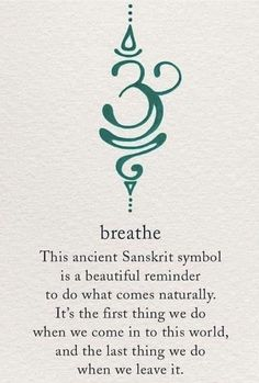 The Breathe Sanskrit symbol is calming yet motivating, just like active breathing! Take short breaks to breathe deeply throughout your day - especially if you're stressed - and you'll probably notice that you feel less exhausted by the end of it Simbols Tattoo, Tatoo Henna, Body Art Tattoos, New Tattoos, Tatoos, Chakra Tattoo, Yoga Tattoos, Necklace Tattoo, Arabic Tattoos